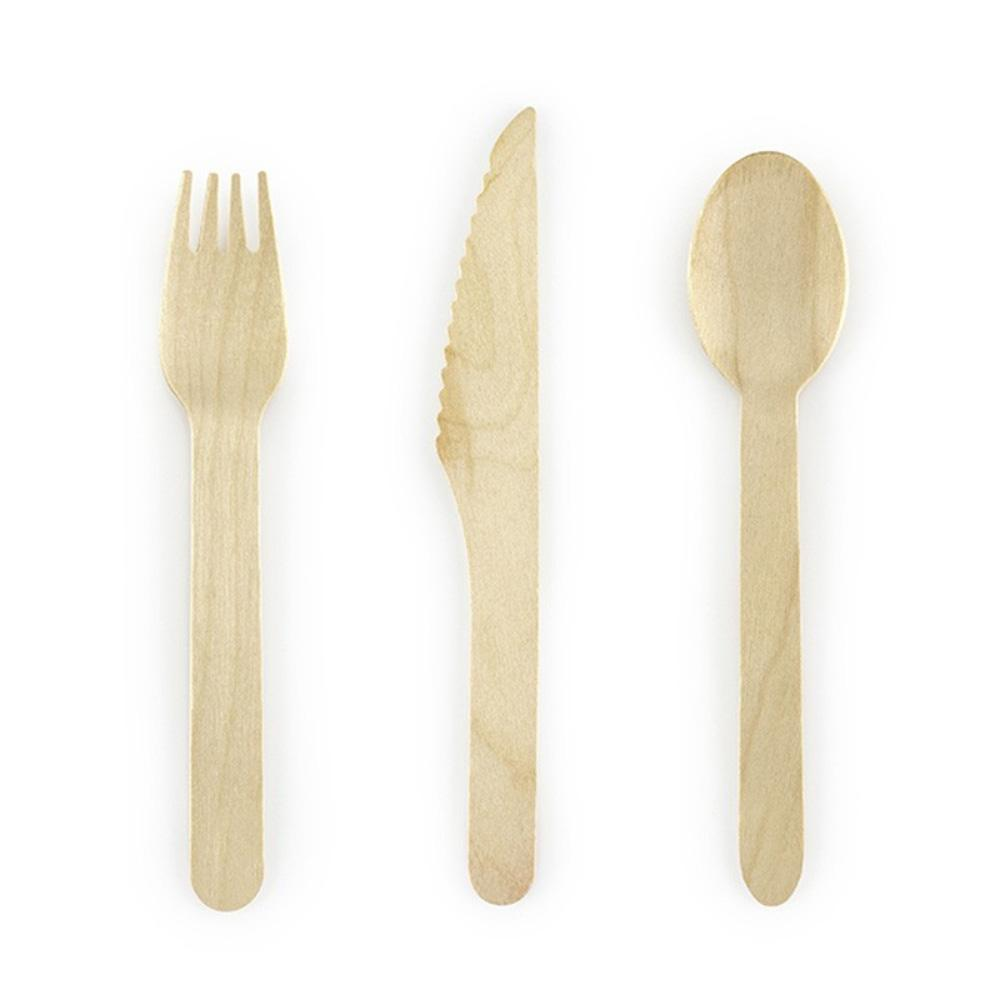 Wooden Party Cutlery (x18)