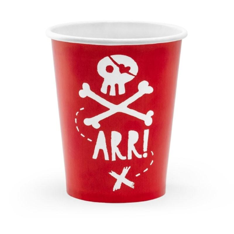 A red party cup with a pirate skull and crossbones