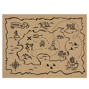A treasure-map styled pirate party placemat