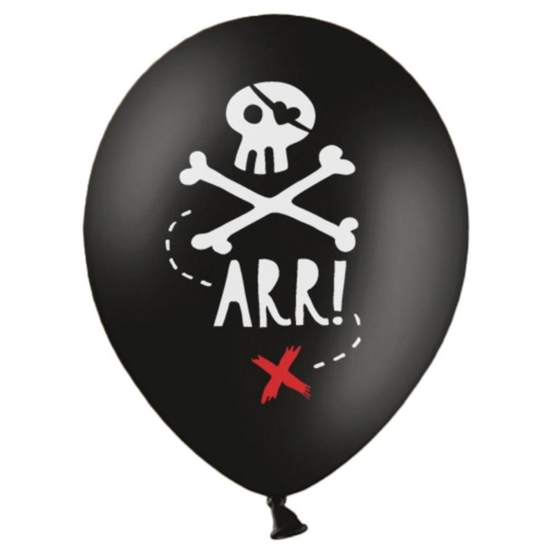 A black pirate-themed party balloon with a skull and crossbones print