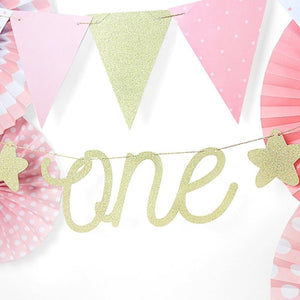 "1st Birthday - Glittery Gold ""One"" Party Banner"