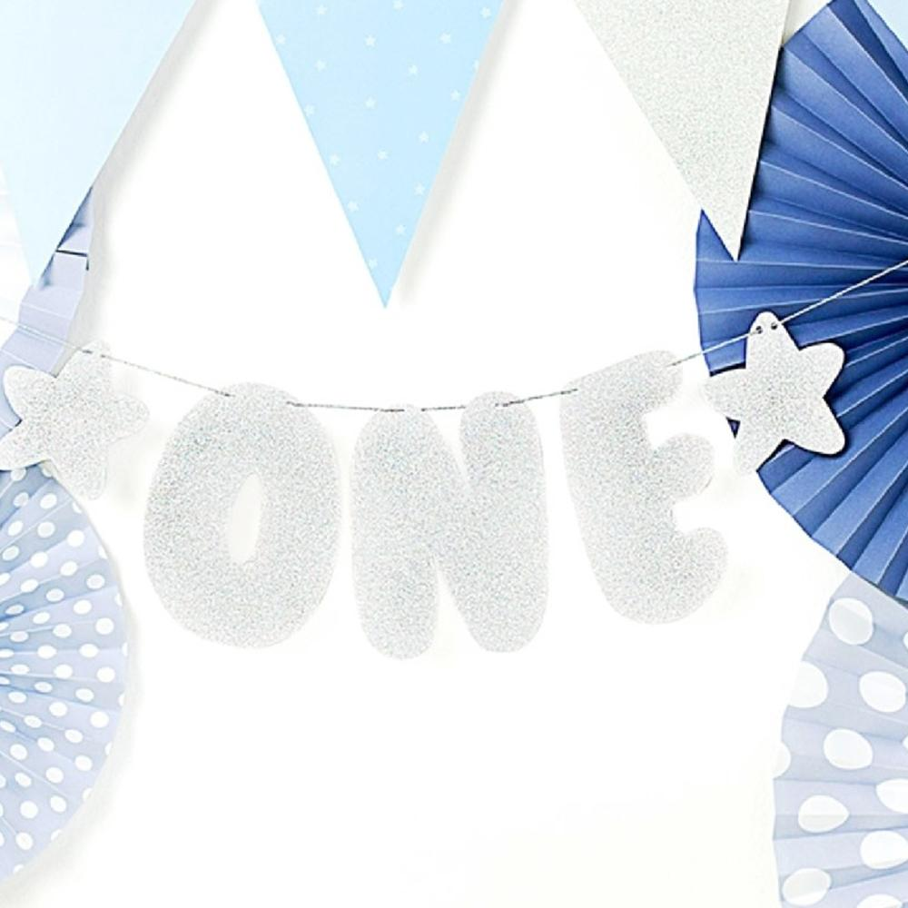 "1st Birthday - Glittery Silver ""One"" Party Banner"