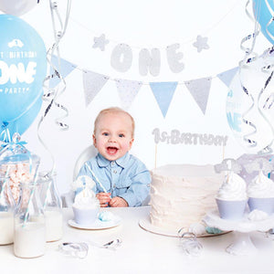 1st Birthday - Blue and Silver Decoration Kit
