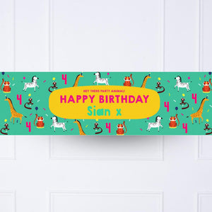 Animal Party Personalised Party Banner