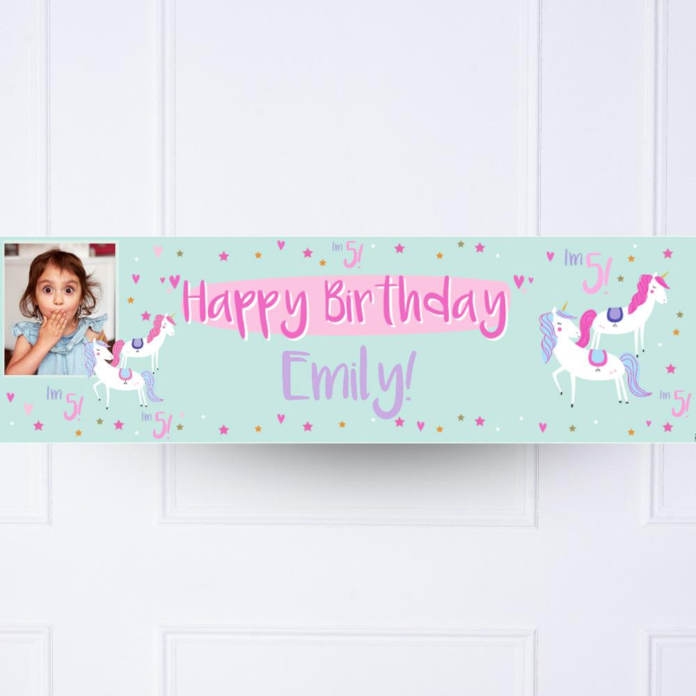 Unicorn Party Personalised Party Banner