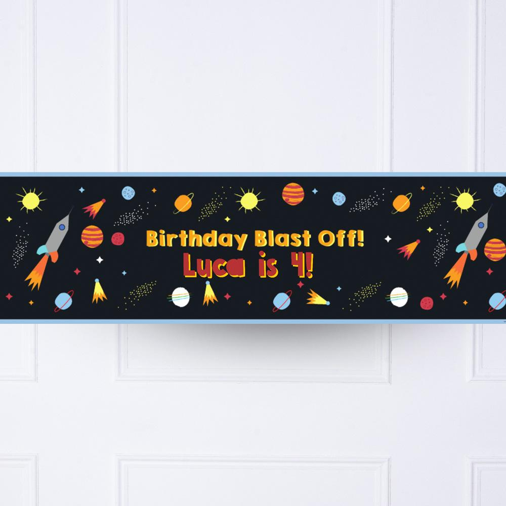 Space Blast Personalised Party Banner