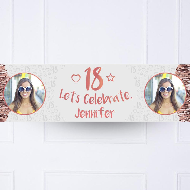 Rose Gold 18th Personalised Party Banner