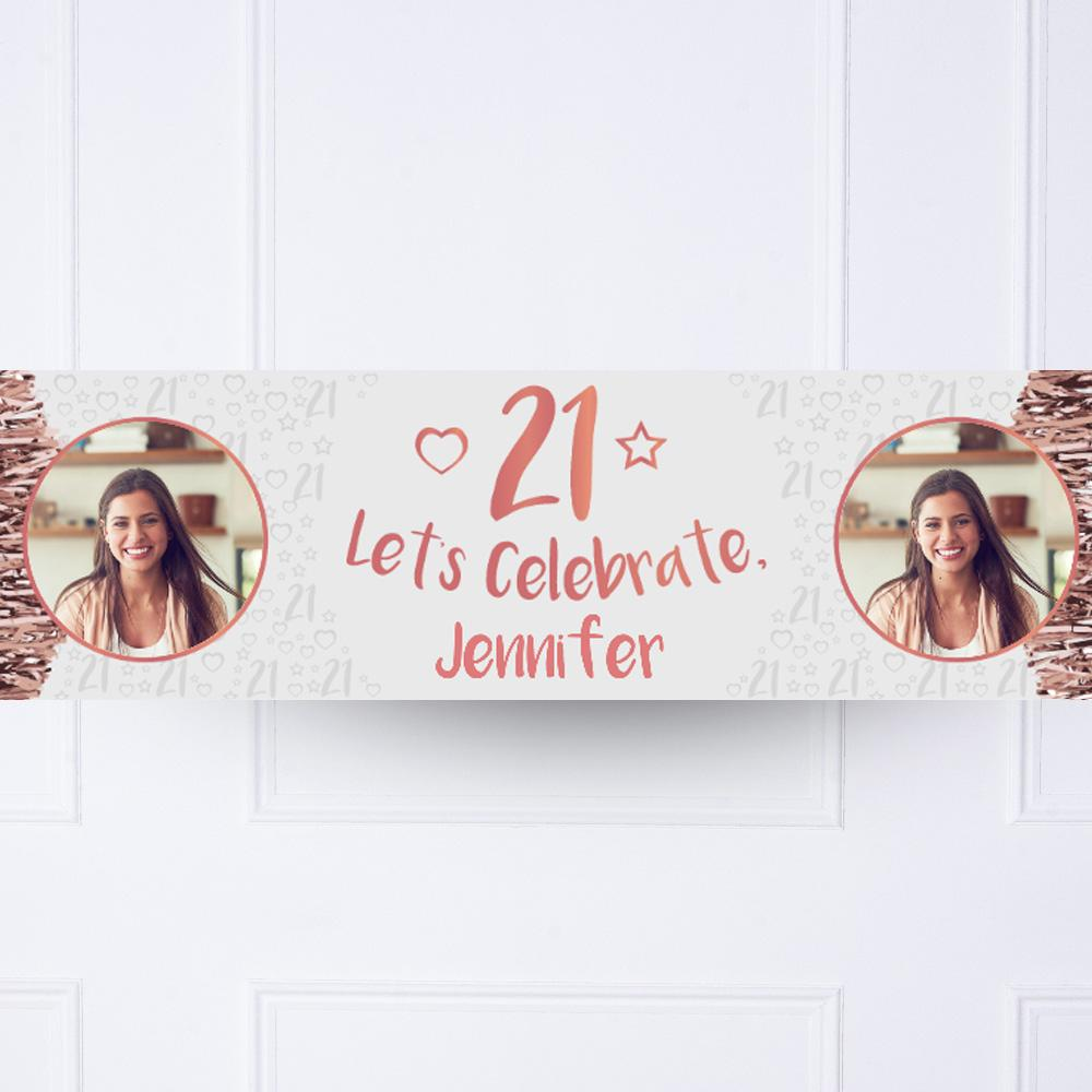 Click to view product details and reviews for Rose Gold 21st Personalised Party Banner.