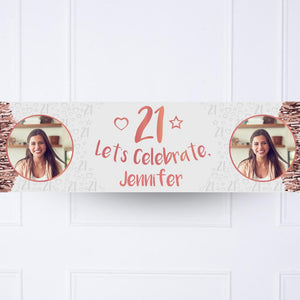 Rose Gold 21st Personalised Party Banner