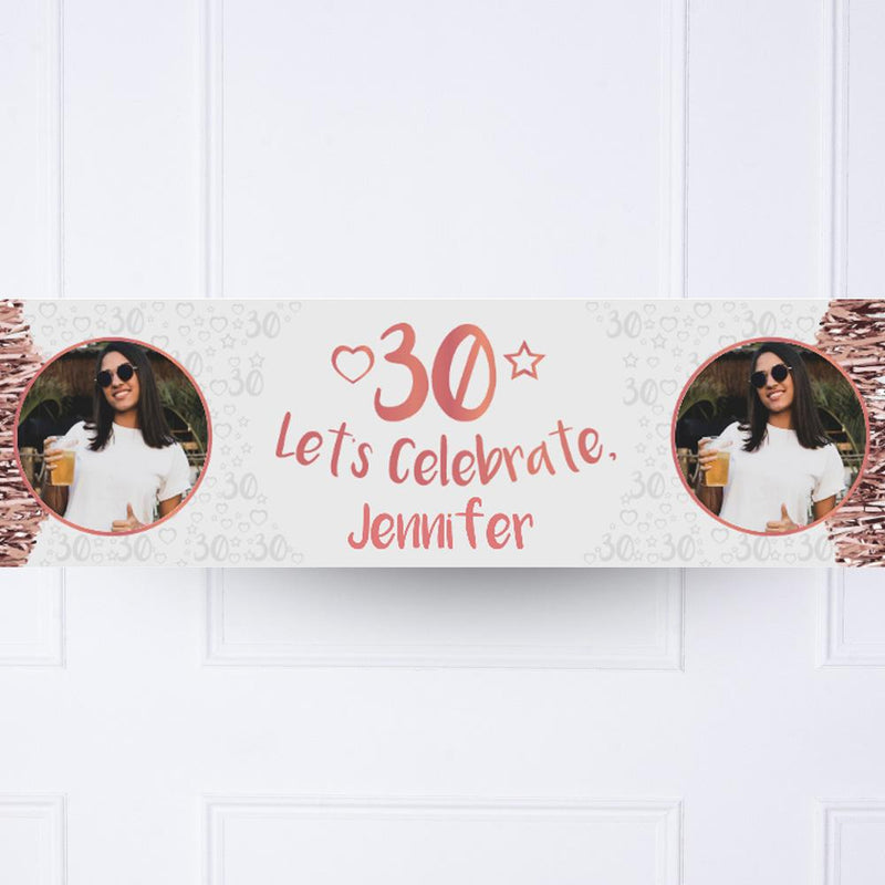 Rose Gold 30th Personalised Party Banner