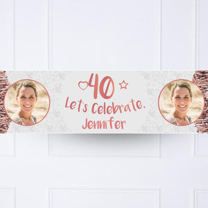 Rose Gold 40th Personalised Party Banner