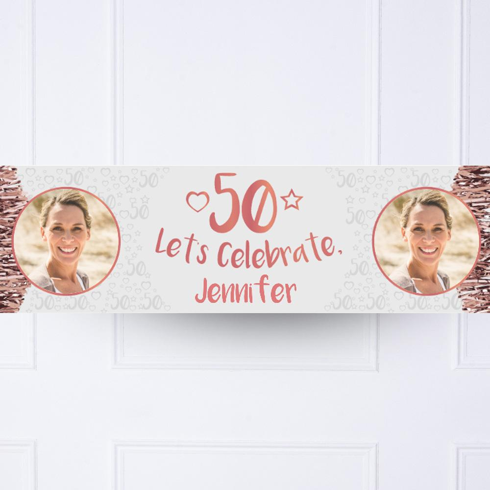 Rose Gold 50th Personalised Party Banner