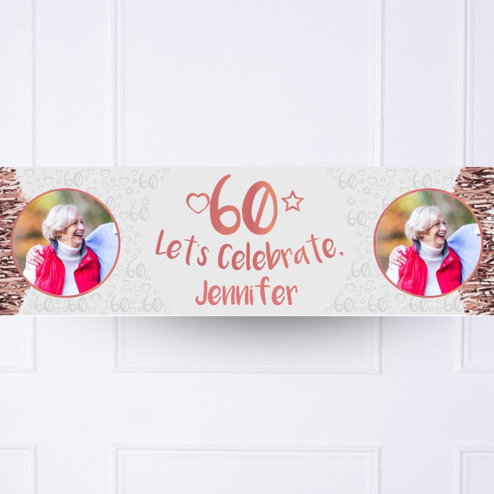 Rose Gold 60th Personalised Party Banner
