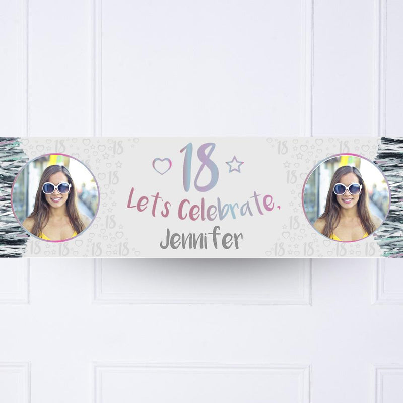 Iridescent 18th Personalised Party Banner