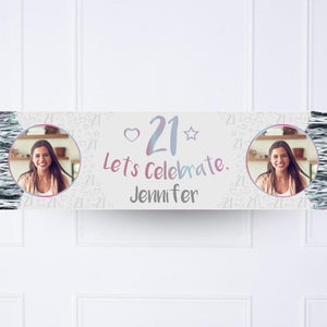Silver 21st Personalised Party Banner