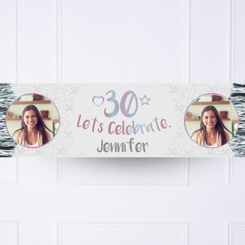 Silver 30th Personalised Party Banner