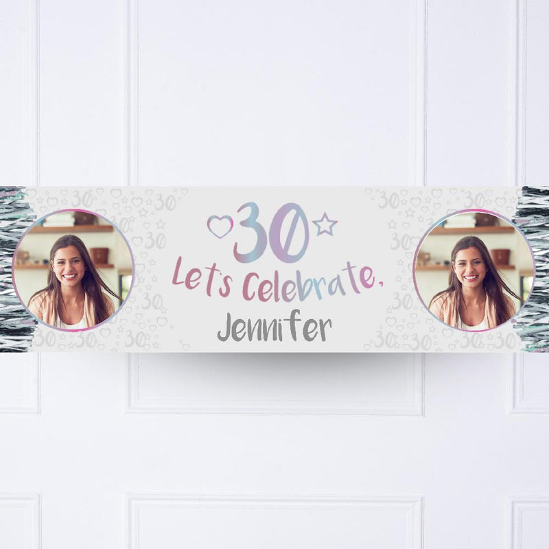 Iridescent 30th Personalised Party Banner