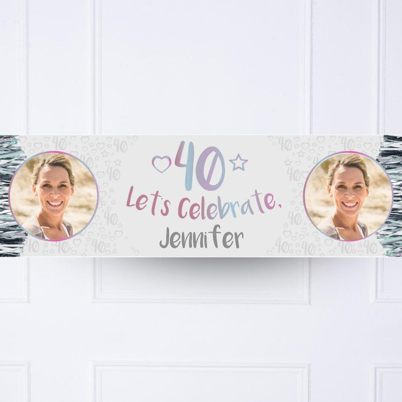 Silver 40th Personalised Party Banner