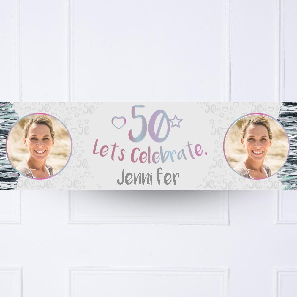 Silver 50th Personalised Party Banner