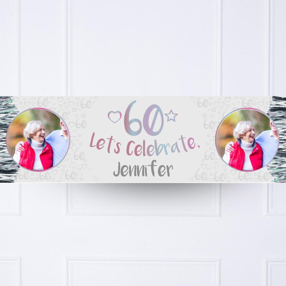 Silver 60th Personalised Party Banner