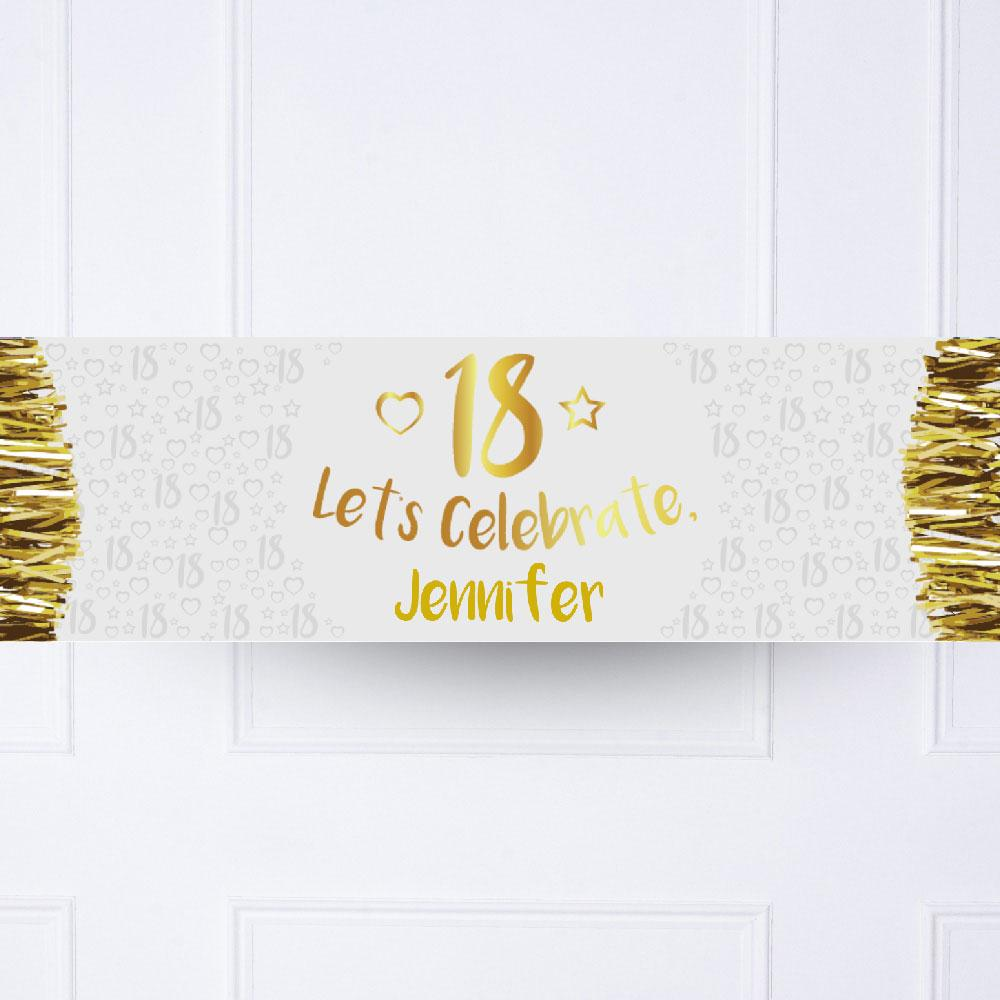 Gold 18th Personalised Party Banner