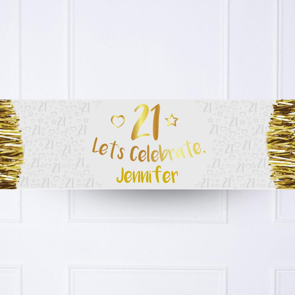 Gold 21st Personalised Party Banner