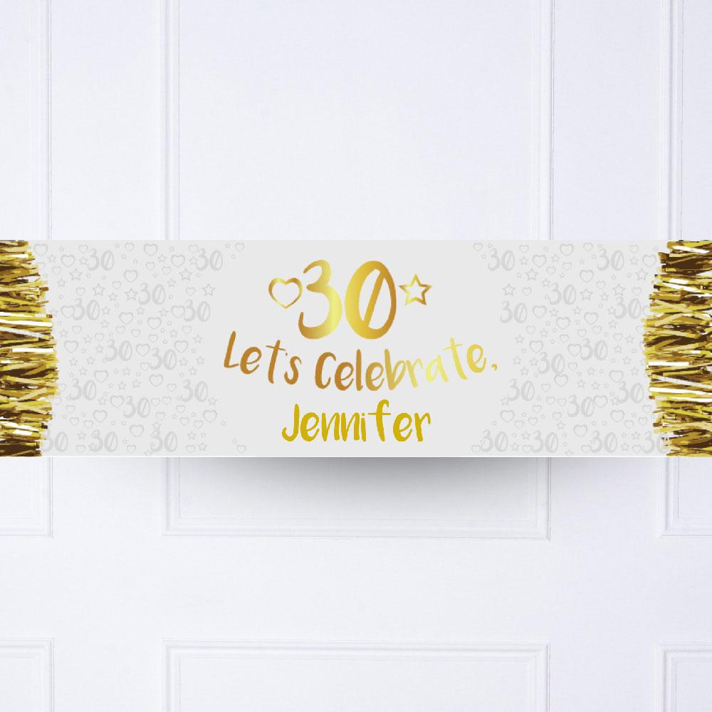 Gold 30th Personalised Party Banner