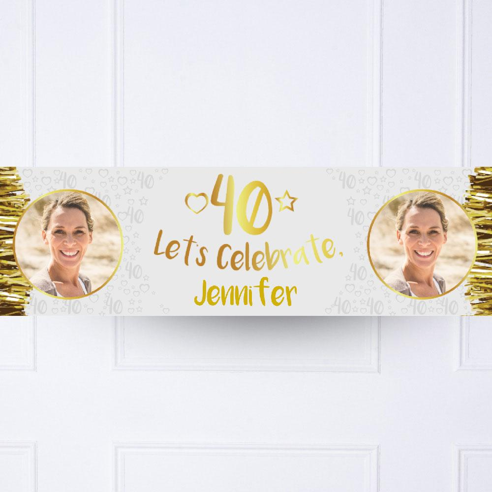 Gold 40th Personalised Party Banner