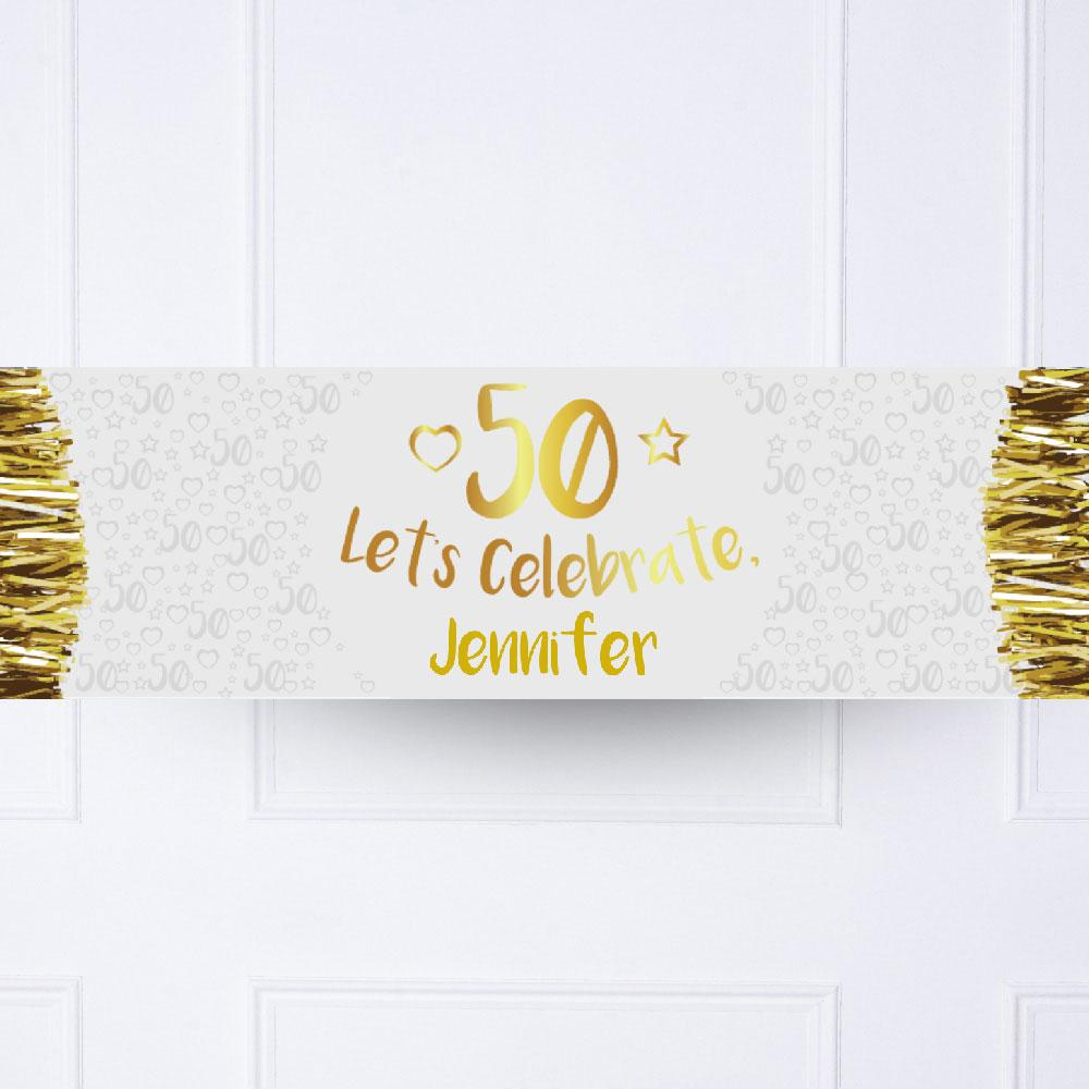 Gold 50th Personalised Party Banner
