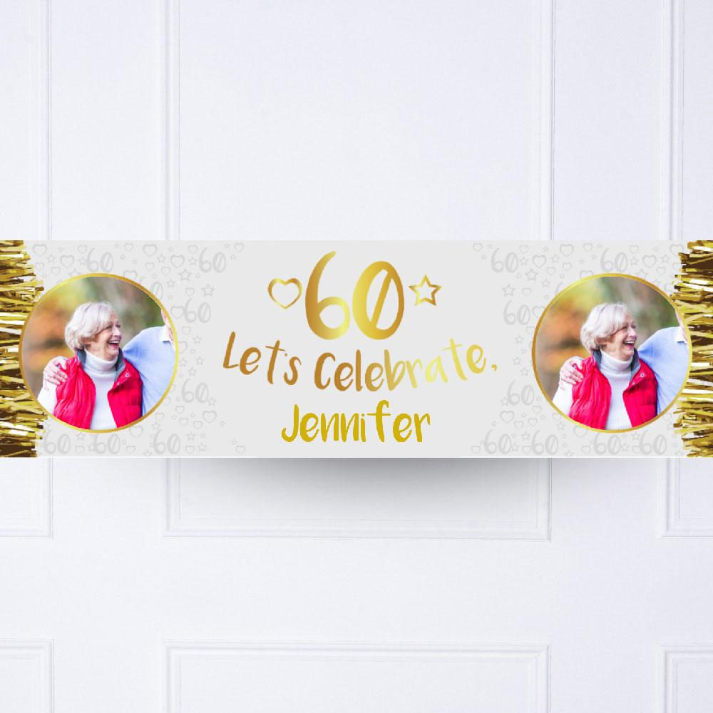 Gold 60th Personalised Party Banner