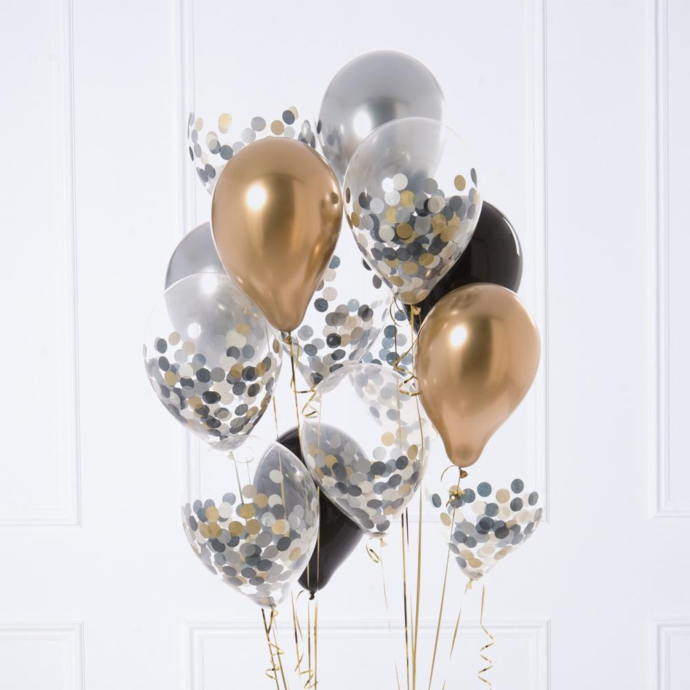 Confetti Balloon Bunch - Gold Celebration
