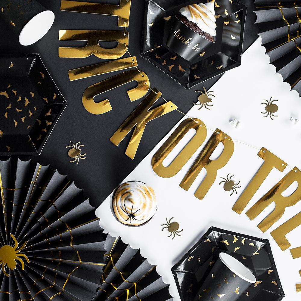 Trick or Treat - Black & Gold Party Fans (x2)