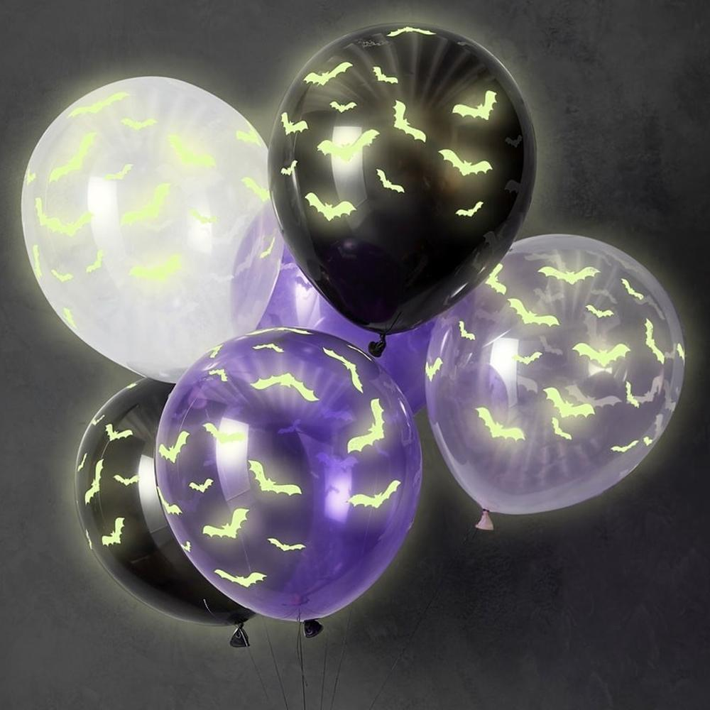 Glow in the Dark Bat Latex Balloons (x6)