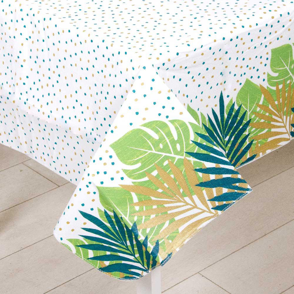 Palm Leaf Flannel Backed Plastic Tablecover