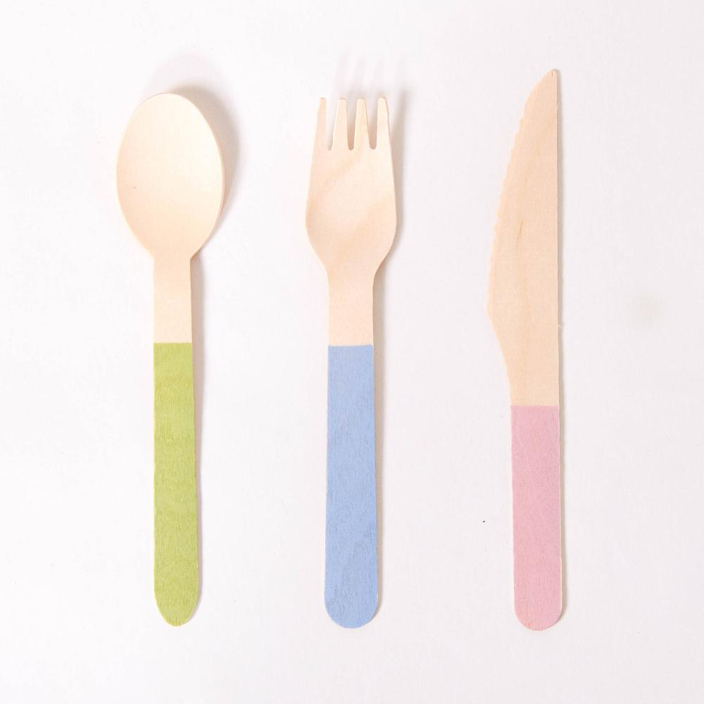 Pastel Mix Wooden Party Cutlery (x18)