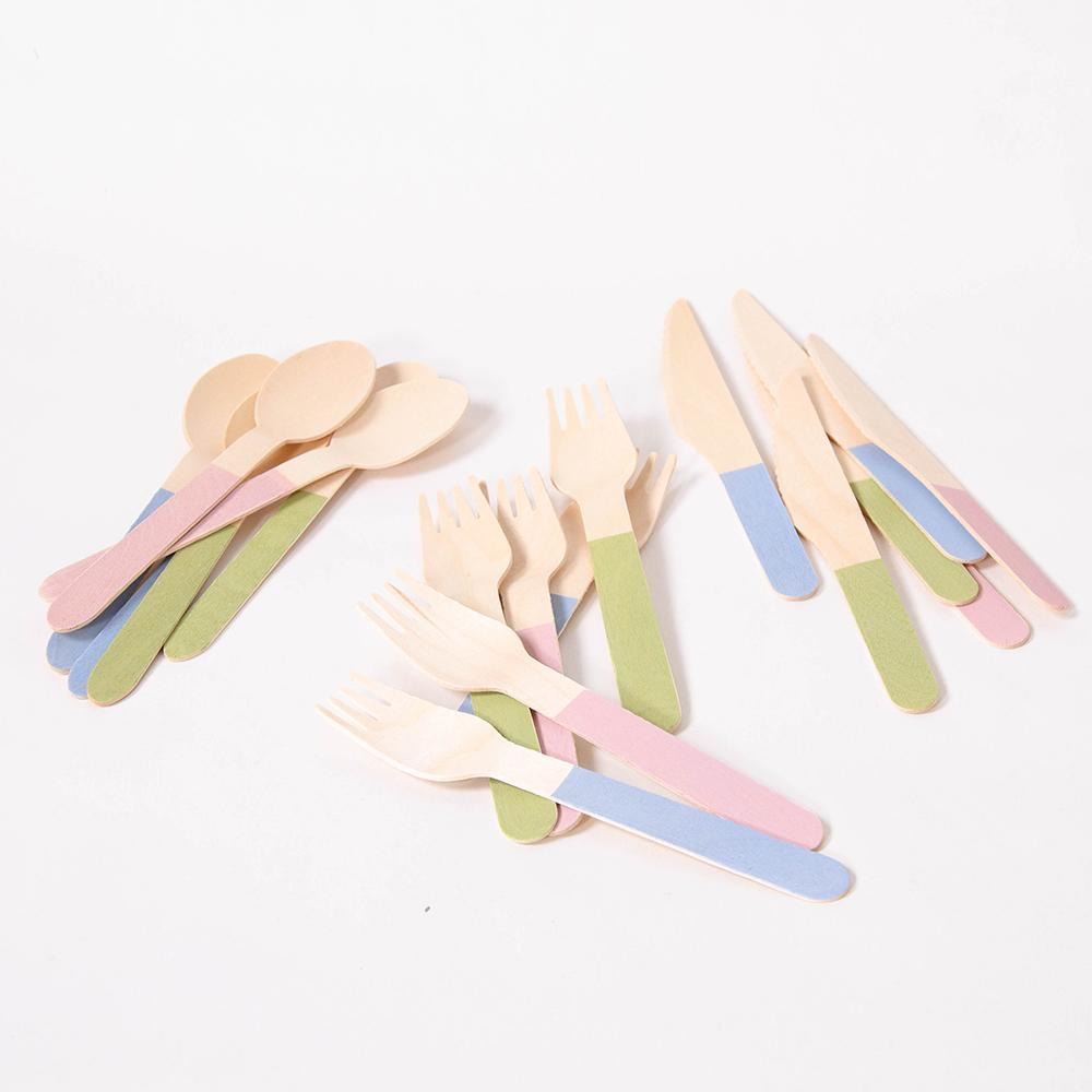 Wooden Party Cutlery - Pastel Mix (x18)