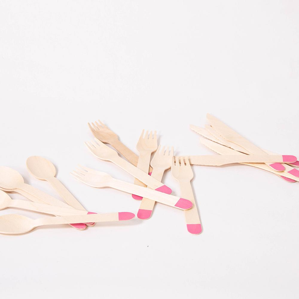 Bright Pink Wooden Party Cutlery (x18)