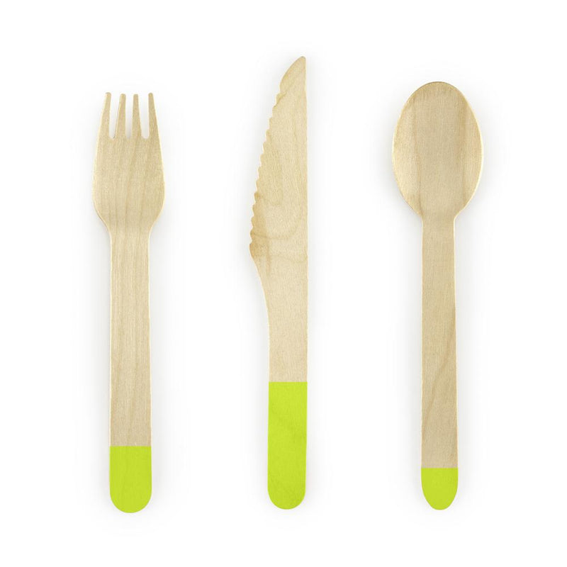 A wooden knife, spoon, and fork with green handles