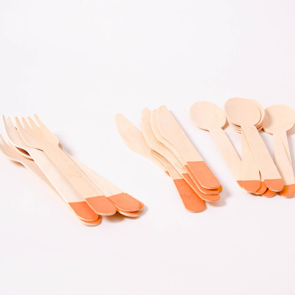 Bright Orange Wooden Party Cutlery (x18)