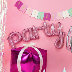 PARTY! Air-Fill Foil Phrase Balloon Bunting Pink (each)