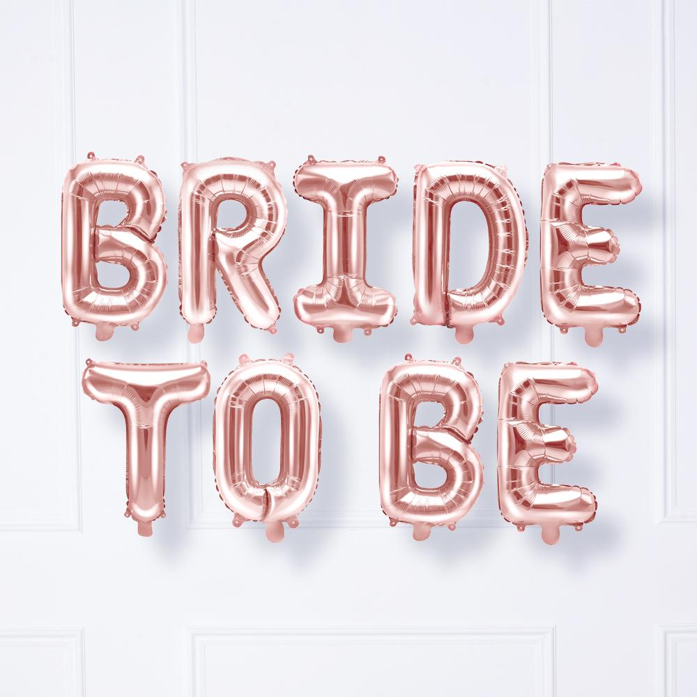 Rose Gold Foil Phrase Balloons - Bride to be