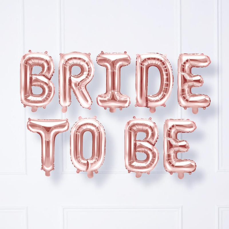 BRIDE TO BE Air-Fill Foil Phrase Balloon Bunting Rose Gold