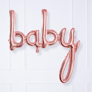 BABY Air-Fill Foil Phrase Balloon Bunting Rose Gold (each)