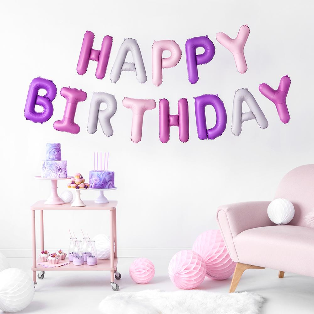 HAPPY BIRTHDAY Air-Fill Foil Phrase Balloon Bunting Multi