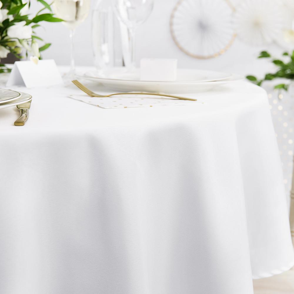 White Round Fabric Tablecloth 230cm