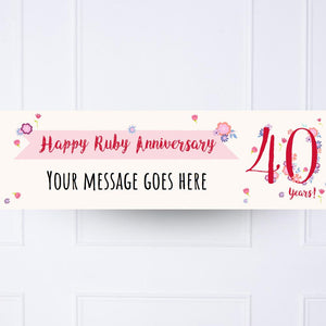 Ruby Anniversary Personalised Party Banner