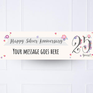 Silver Anniversary Personalised Party Banner