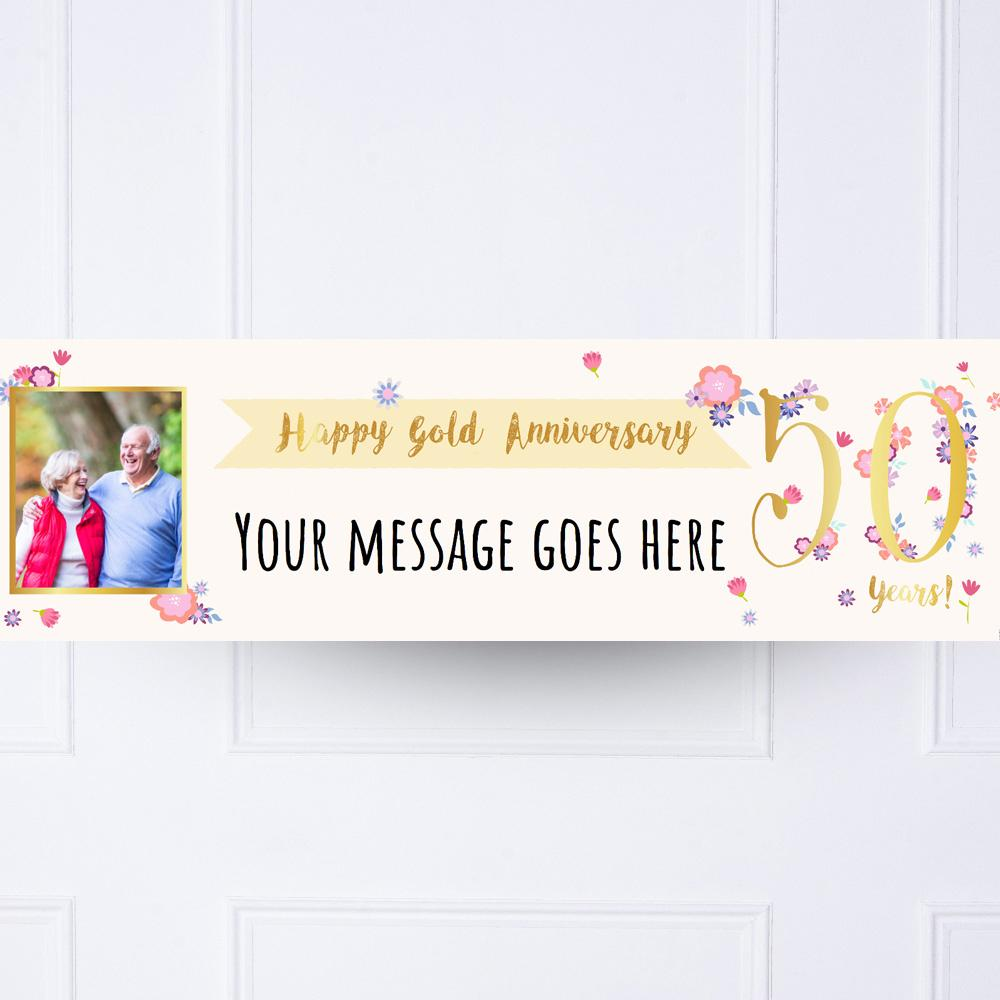Gold Anniversary Personalised Party Banner