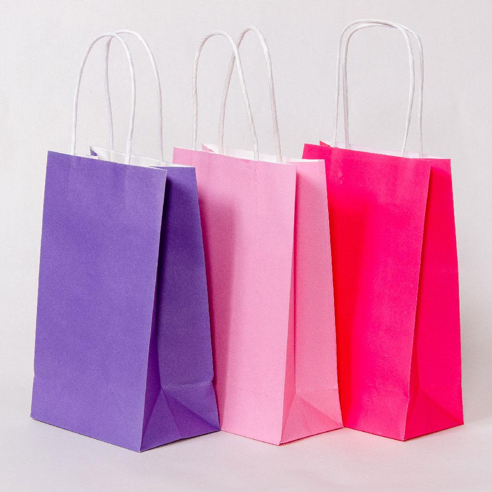 Pink Mix Party Bags with Handles (x12)