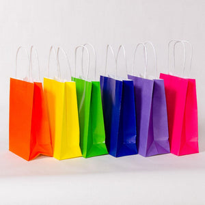Bright Mix Party Bags with Handles (x12)